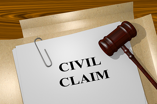3D illustration of CIVIL CLAIM title on Legal Documents. Legal concept.